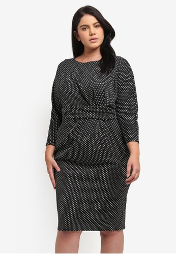 Goddiva black Plus Size Three Quarter Sleeved Polka Dot Midi Dress GO975AA0SSC7MY_1