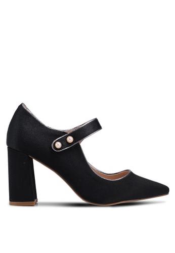 Nose 黑色 瑪莉珍繞帶粗跟鞋 11D5FSH21E6F1DGS_1
