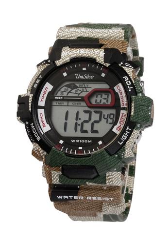 UniSilver TIME brown Ken Chan's Camo-D Rubber Strap Watch KW1754-1002 UN802AC35LSYPH_1