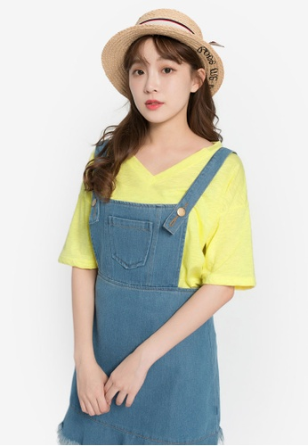 Tokichoi yellow Basic Oversized Tee TO550AA0S1FXMY_1