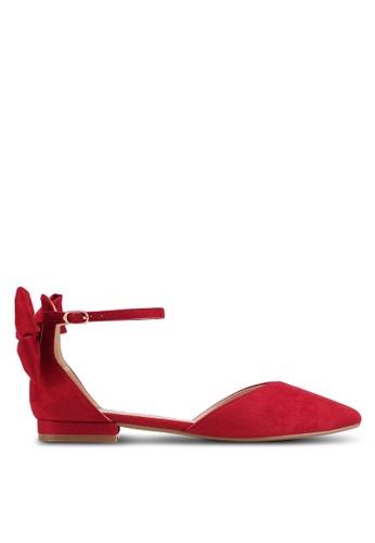 Velvet red Microfiber Bow Flats 3581FSH39FAB19GS_1