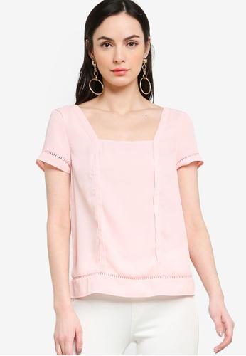 ZALORA 粉紅色 Square Neck Trim Top 965B6AA789AF9EGS_1