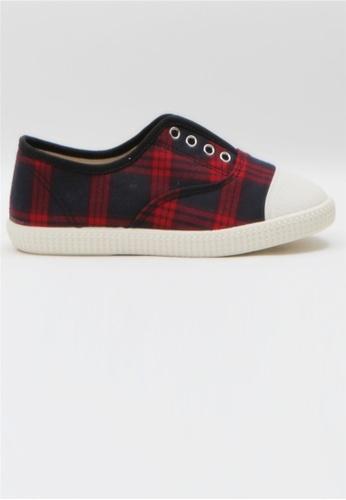 Crystal Korea Fashion red Korean New Plaid Flat Slip-Ons 7D8EASHC101920GS_1