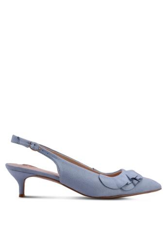 Velvet blue Double Layered Ruffle Low Heels DB1E0SH74CDD36GS_1