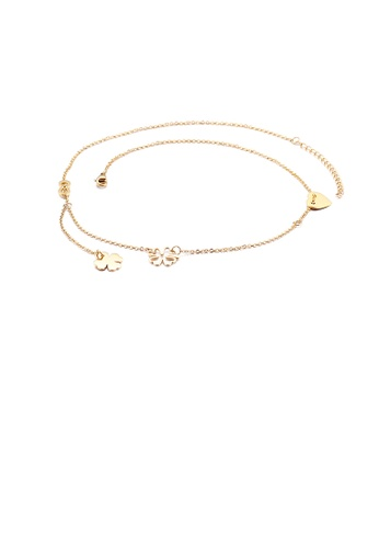 Glamorousky silver Fashion and Elegant Plated Gold Four-leafed Clover Heart-shaped 316L Stainless Steel Necklace B1242AC548FAA1GS_1
