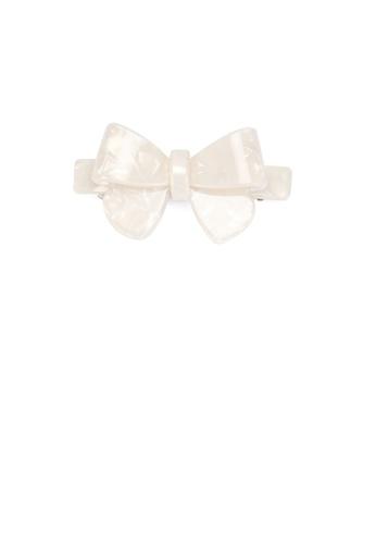 Glamorousky silver Fashion Simple White Ribbon Small Hair Slide 41E2AAC0542905GS_1