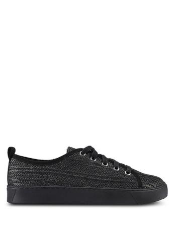 ZALORA black Raffia Detail Sneakers D060FSH375CD37GS_1