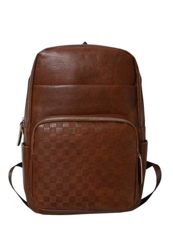 Lara brown Men's Plain Leather Zipper Backpack - Light Brown 8F47DACE74F526GS_1