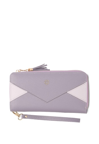 Wild Channel purple Faux Leather Long Wallet 78362ACB477E29GS_1
