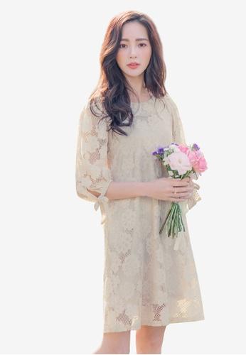 YOCO beige Lacy Floral Dress 9E9FFAA2AD5129GS_1