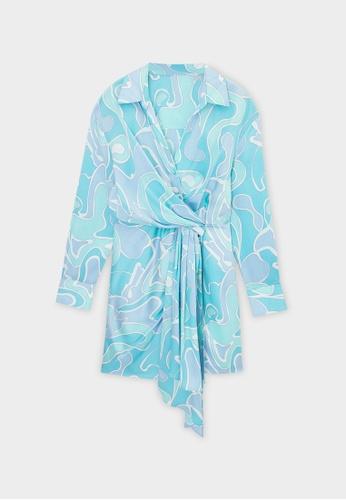 Pomelo blue Wave Print Mini Dress - Blue 6C379AABED53B7GS_1