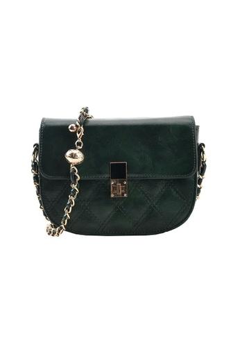 Lara green Women's Rhombic Embossed Flap Saddle Bag - Green 89472ACACBF791GS_1
