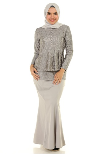 Rosa Kurung With Layered Pleated from Ashura in Grey