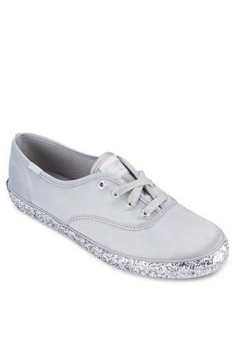 CH 閃飾鞋緣繫帶布鞋, esprit香港門市女鞋, 鞋
