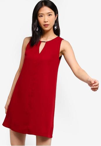 ZALORA BASICS red Basic Neck Details Shift Dress CDBFBAAB4FFEEAGS_1