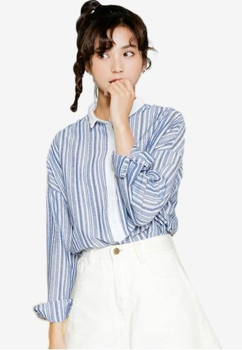 Shopsfashion blue Slim Collar Shirt F72F9AA3E18447GS_1