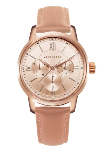 Aries Gold pink Aries Gold Urban Rose Gold and Pink Leather Watch 923EDACC12A933GS_1