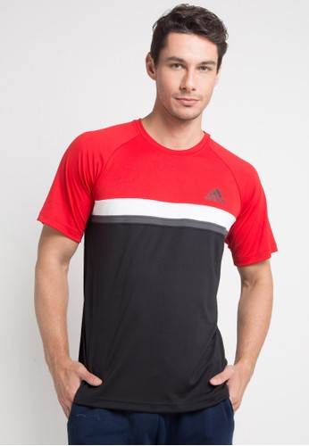 adidas red and multi adidas colorblock club tee 41191AA2D26708GS_1