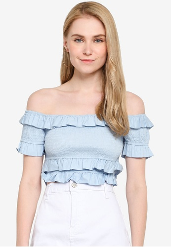 f7dbd06f98b Buy FOREVER 21 Smocked Off The Shoulder Crop Top Online on ZALORA Singapore