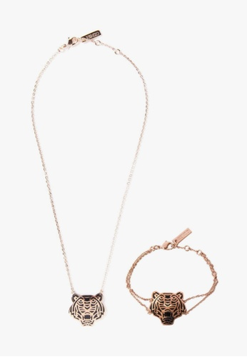 Kenzo gold KENZO TIGER NECKLACE AND BRACELET SET 7397FAC33C9AD2GS_1
