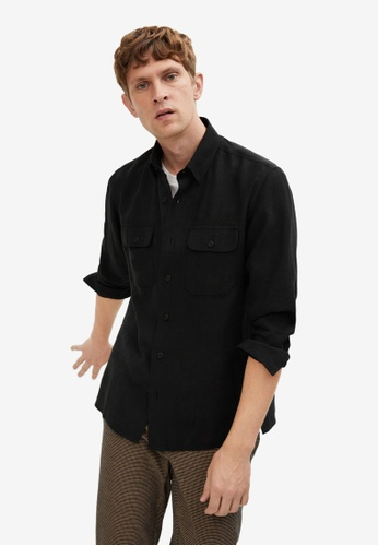 Mango Man black Regular Fit Lyocell Shirt F05C6AA08F16EFGS_1