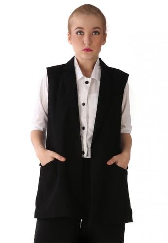 MKY Clothing black MKY Janice Long Vest in Black MK162AA97BIGID_1