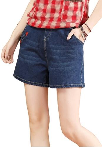 A-IN GIRLS navy Denim Shorts With Elastic Waist C522FAA8556410GS_1