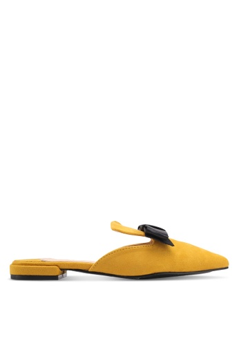 Something Borrowed yellow Contrast Bow Slip-On Flats 89368SH6DFC862GS_1