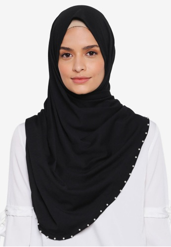 Lubna black Jersey With Pearl Edge Tudung FCA21AA9DEC201GS_1