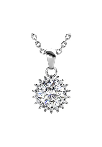 Her Jewellery silver CELÈSTA Moissanite - Florale Pendant (925 Silver with 18K White Gold Plating) by Her Jewellery E79A8AC75FE27FGS_1