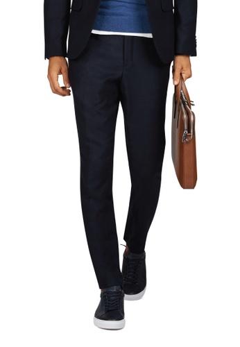 T.M. LEWIN navy T.M.Lewin Bradman Navy Textured Slim Fit Infinity Machine Washable Trousers 088BDAA1D1198EGS_1