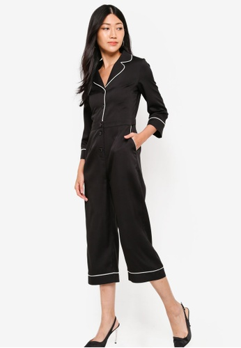 ZALORA black and multi Long Sleeves Contrast Trim Jumpsuit 3EE89AA2DBC276GS_1