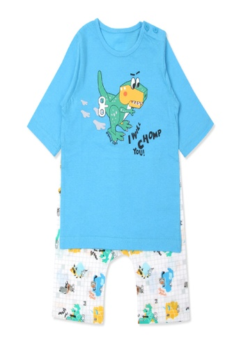 Organic mom blue Organic Cotton Kyle Dinosaur 3/4 Sleeves Pjs 5396DKA59C484FGS_1