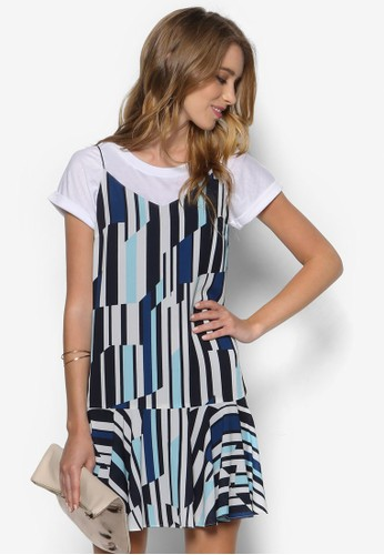 藝zalora 泳衣術風條紋連身裙, 服飾, 服飾