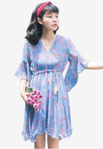Shopsfashion blue Floral Midi Flare Dress C06B8AA97250EFGS_1