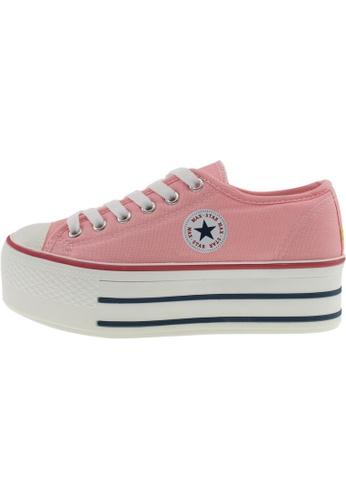 Maxstar 粉紅色 新款韩国鞋C50-6H時尚帆布布混合女粉紅色 US Women Size MA345SH53GVATW_1