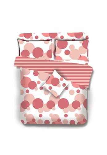 Primeo pink Premium 220TC Queen Comforter Set, Coral Comforter, Fitted Sheet, Pillow Case Set of 4 F2174HL6C7D251GS_1