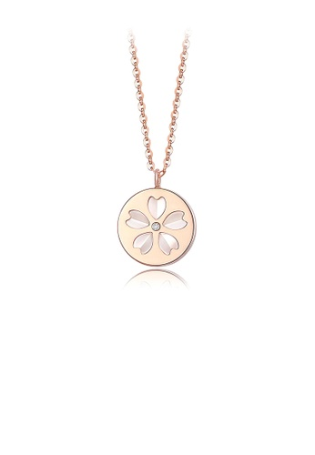 Glamorousky white Elegant and Simple Plated Rose Gold Flower Geometric Round 316L Stainless Steel Pendant with Cubic Zirconia and Necklace 2A5E3AC3AB009EGS_1