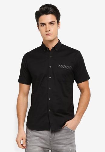 ZALORA black Contrast Fabric Detail Short Sleeve Shirt 0AC3BAAE354697GS_1