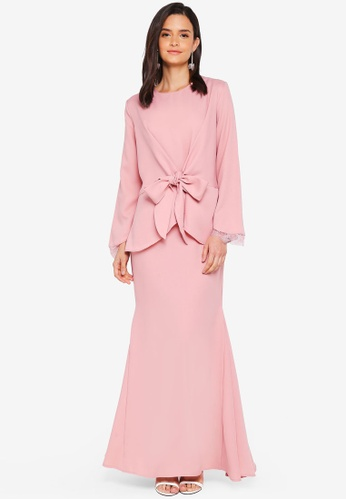 Lubna pink Front Knot Lace Sleeve Kurung 2EB7FAAD12DF9AGS_1