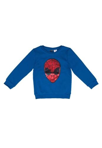 LC Waikiki blue Boy's Double-Sided Sequin Spiderman T-Shirt DF50FKA498D38FGS_1