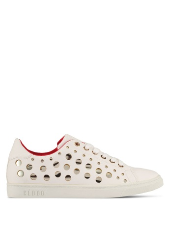 Keddo white Basic Lace-Up Sneaker With Gold Design Perforation B9A8ESH5FFCC7EGS_1