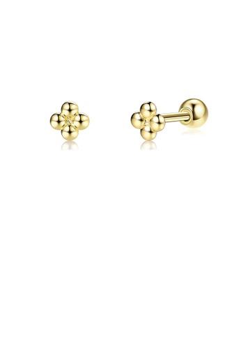 Glamorousky silver 925 Sterling Silver Plated Gold Simple Fashion Geometric Flower Stud Earrings C878EACE1C53DEGS_1