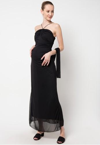ELSY'S black Dress You Can See Tali Satin EL744AA98CXDID_1