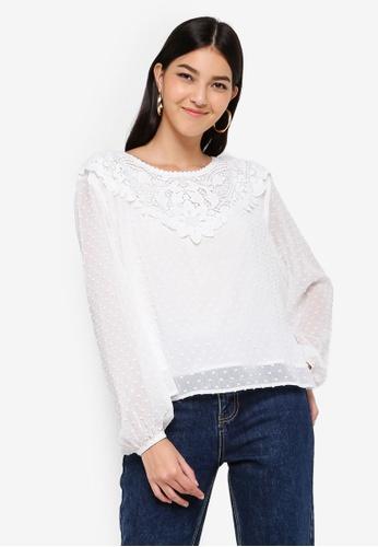 ZALORA white Textured Long Sleeves Top 6C9F4AA1AE761DGS_1
