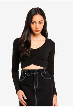f88be46eb0e89f Supre black Luxe Deep V Gathered Long Sleeve Crop Top 09E6AAA89C4C5DGS_1