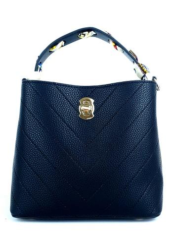 BELLE LIZ black PU Scarf Trendy Bag Black 1A9D3AC60A1EB4GS_1