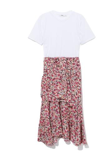b+ab white Pattern print hem dress B983CAA0405A88GS_1