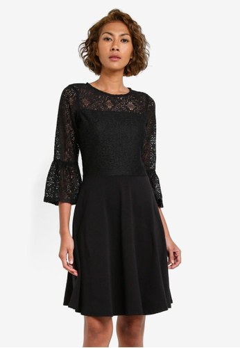 Dorothy Perkins black Lace Flute Sleeve Dress DO816AA0S09FMY_1