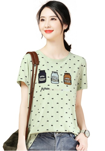 A-IN GIRLS green Loose Embroidered Short-Sleeved T-Shirt C3EAEAA7AB7AF9GS_1